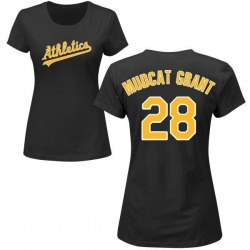 Women's Jim Mudcat Grant Oakland Athletics Roster Name & Number T-Shirt - Black