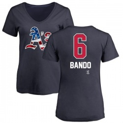 Women's Sal Bando Oakland Athletics Name and Number Banner Wave V-Neck T-Shirt - Navy